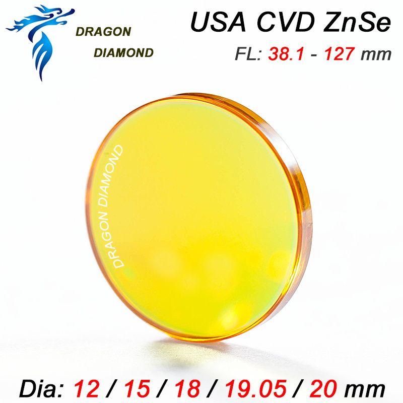 USA CVD ZnSe Laser Lentille Dia12mm 15mm 18mm 19mm 20mm Focal longueur 38.1 50.8 63.5 76.2 101.6 127mm 1.5-5 pouce Pour CO2 Laser Machine