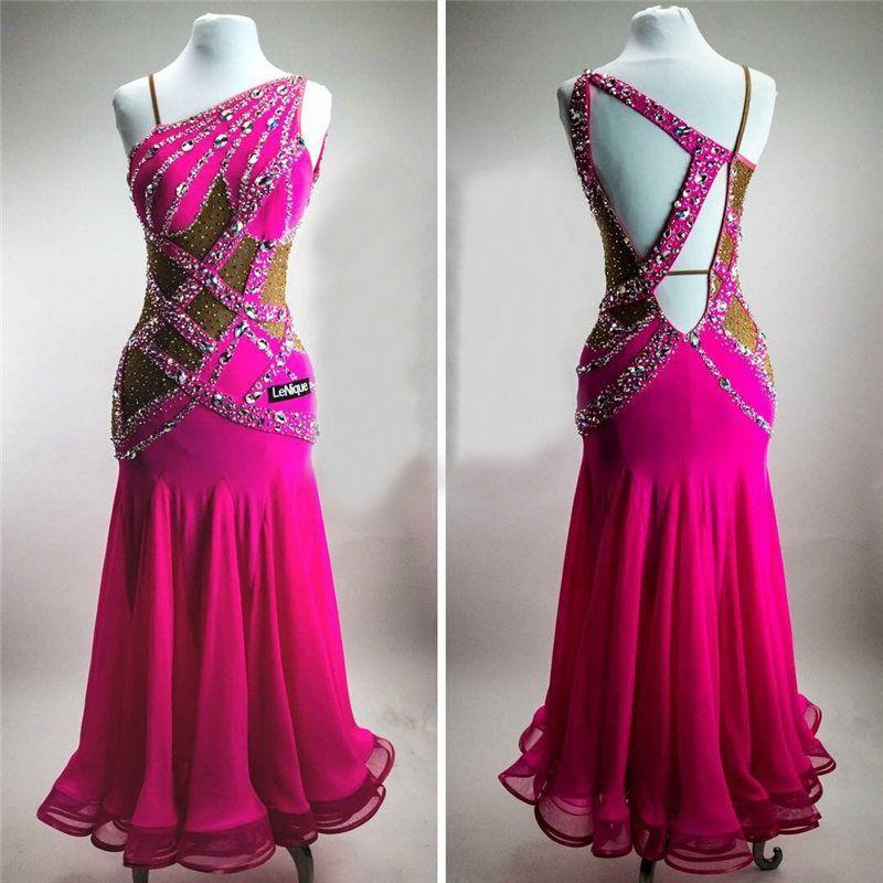 GOODANPAR Organza Lycra Standard Ballroom Dance Dress Women Ladies Costume Sleeveless Competition Dancewear Modern Waltz Clothes