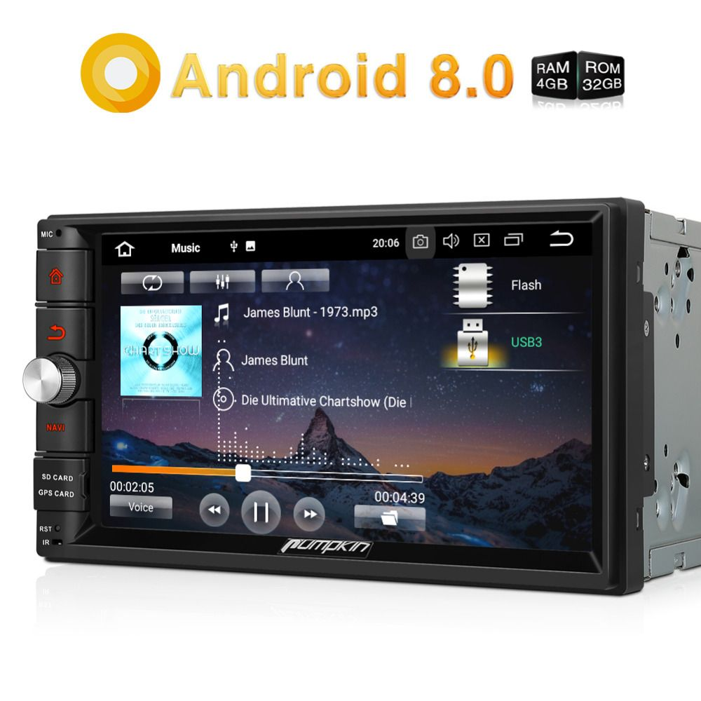 Pumpkin 2 Din 7'' Android 8.0 Universal Car Radio No DVD Player Qcta-Core GPS Navigation Car Stereo Wifi DAB+ Bluetooth Headunit
