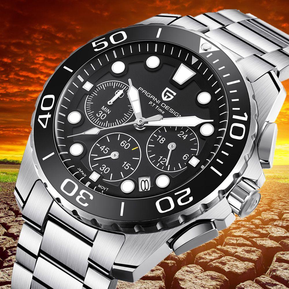 PAGANI DESIGN Militär Uhr Männer Top Luxus Marke Chronograph Wasserdicht Edelstahl Quarz Uhren Relogio Masculino Saat