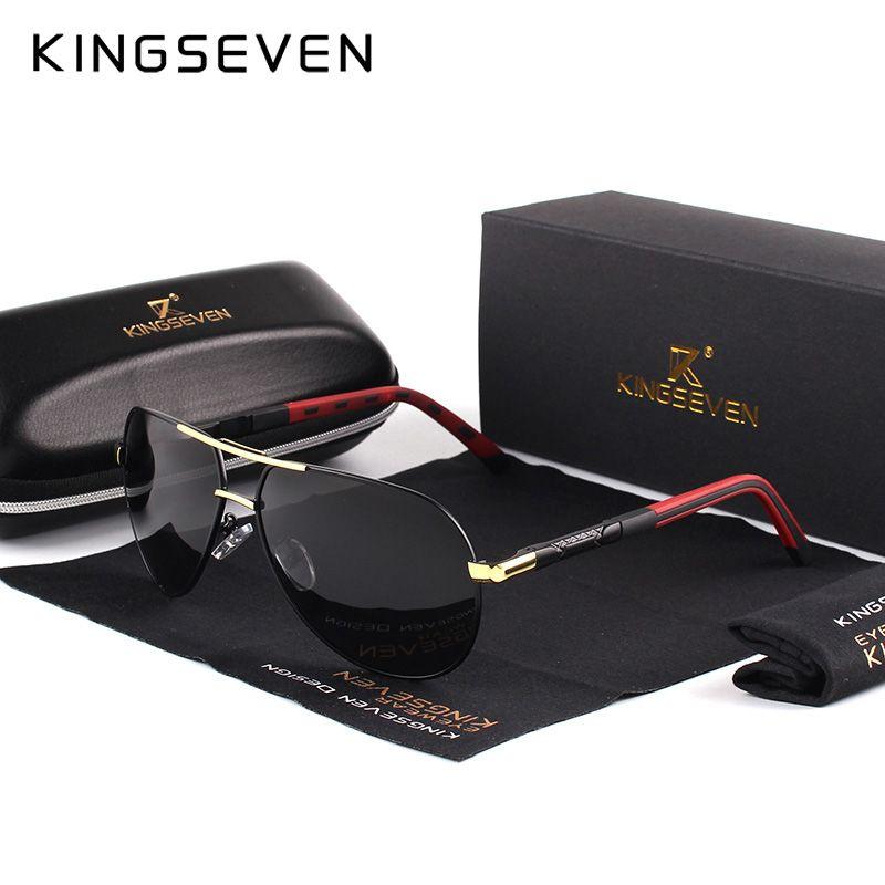 KINGSEVEN Hommes Vintage Aluminium lunettes de Soleil Polarisées Classique Marque lunettes de soleil Revêtement Lentille lunettes de conduite Pour Hommes/Wome