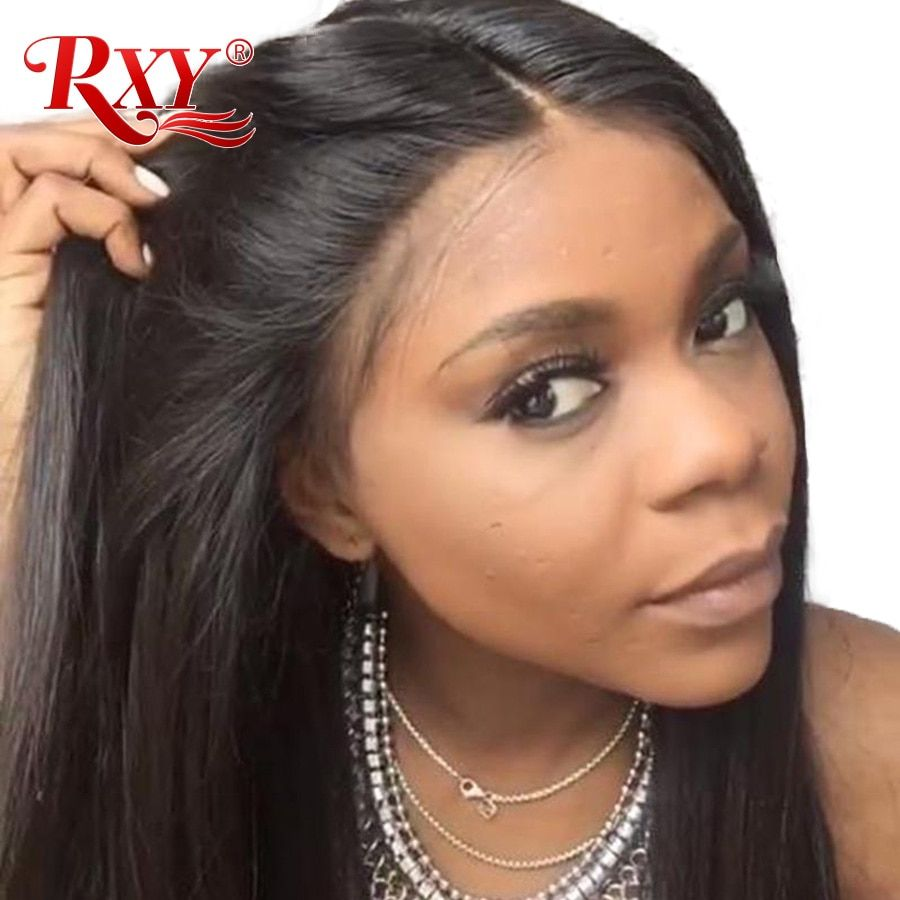 RXY 360 Lace Frontal Wig Pre Plucked With Baby Hair Straight Lace Front Human Hair Wigs For Women Non Remy Black Lace Front Wigs