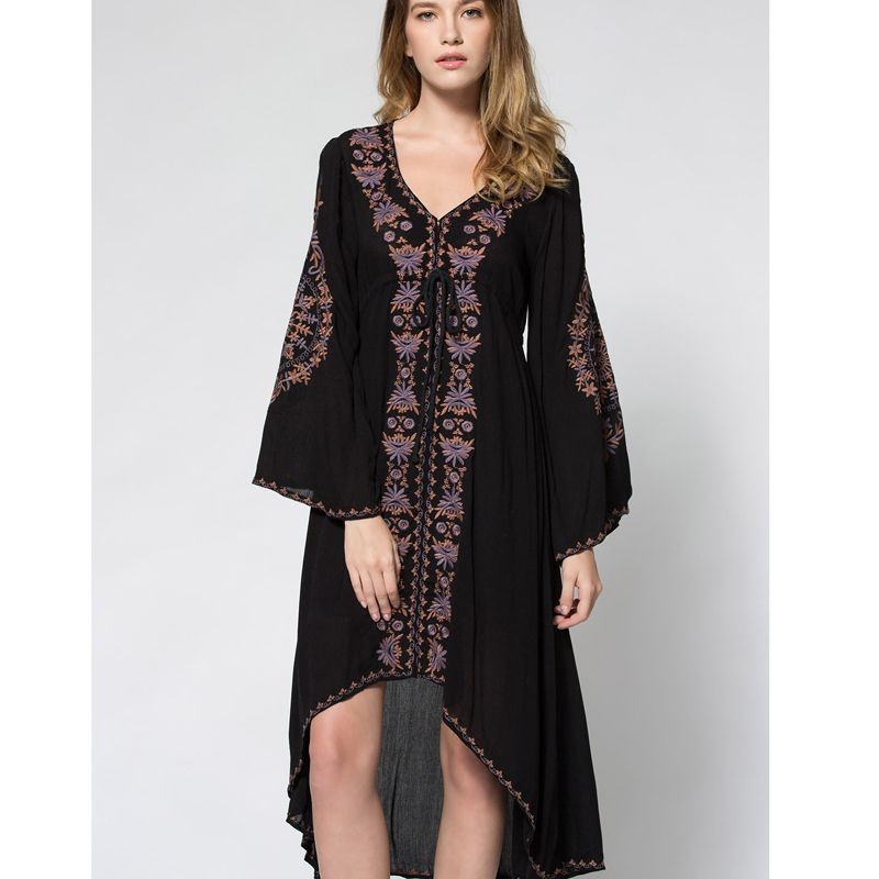 2018 summer new free bohe style embroidery long dress V <font><b>collar</b></font> cotton linen vintage holiday beach dress people hot robe
