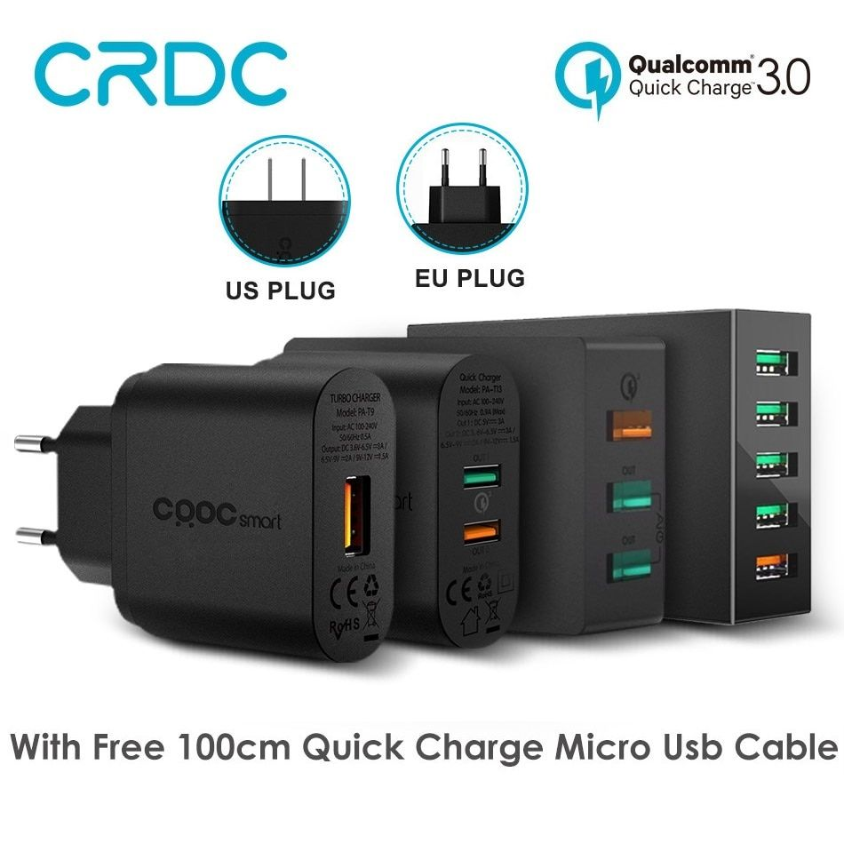 CRDC Quick Charge 3.0 Portable USB Charger Smartphone Fast Wall Charger For iphone Xiaomi Samsung Galaxy S8 Power Bank Charging