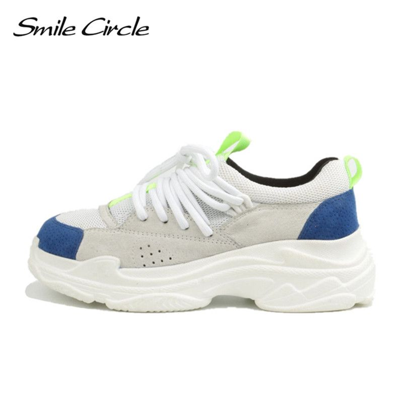 Smile Circle 2018 Spring/Autumn Women Sneakers Genuine Leather Shoes For Women Fashion Lace-up Flat Platform Shoes