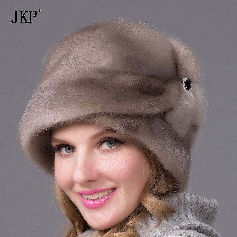 Mink fur hats Genuine Leather real mink fur hat for winter women russian fur hat Fashion Warm winter brown fur hats DHY-69