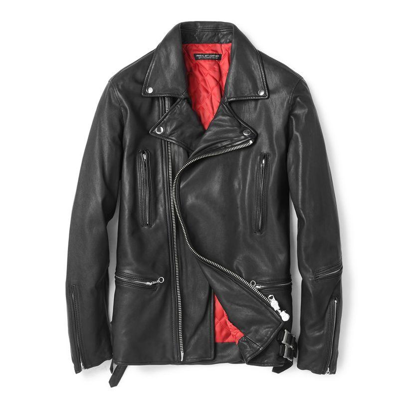 Luxus Qualität Schafe Leder Jacke Winter Warme Leder Mantel Vintage MOTO & Biker Baumwolle Padded Innere Mode Männlichen Winter Outwear