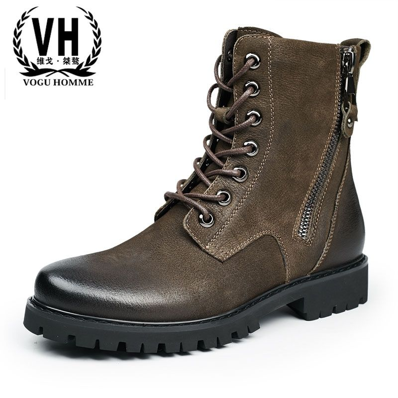 Ботинки «мартенс» мужчин в британском стиле мужские ботинки на молнии сапоги-трубы в стиле ретро теплые высокие прилив новых на осень-зиму ...