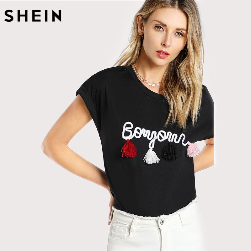 SHEIN Black Short Sleeve T shirt for Women and Girl Casual Women Tops Batwing Sleeve Tassel Detail Embroidery Dolman T-Shirt