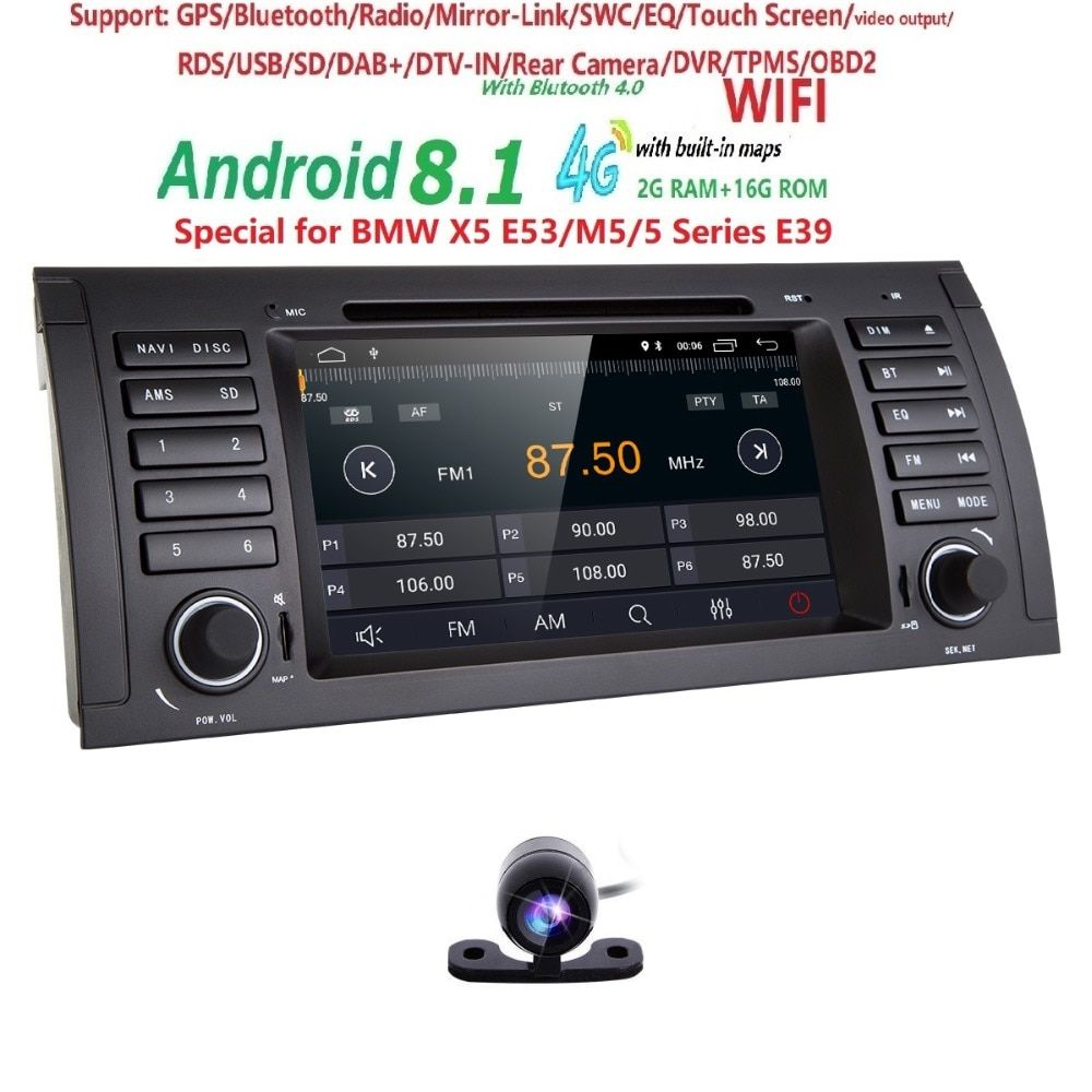 Auto DVD Player GPS Audio Radio Für BMW 5 Series X5 E53 E39 M5 Android 8.1 1024*600 Quad Core 4X1,6 GHz CPU 2 GB/16 GB Flash Stereo
