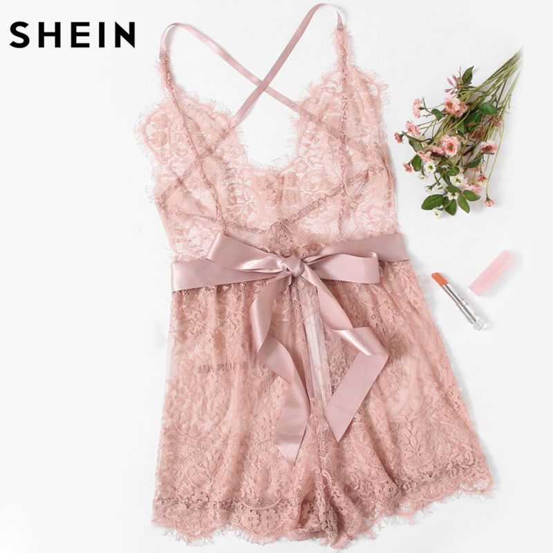 SHEIN Sexy Lingerie Onesies Sexy Pajama Bottoms Pink Spaghetti Strap <font><b>Ribbon</b></font> Tie Waist Plunging Lace Sleep Romper