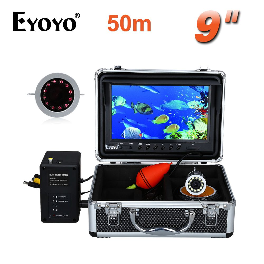 EYOYO Original Video Fish Finder HD 1000TVL 50M Full Silver Invisible Outdoor Infrared LED 9 inch Bigger Monitor Free Sunvisor