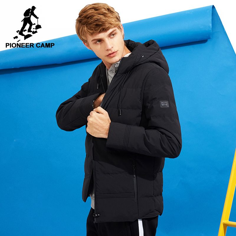 Pioneer Camp new thick winter jacket men brand clothing hooded warm coat male top quality black solid parkas jacket AMF705280