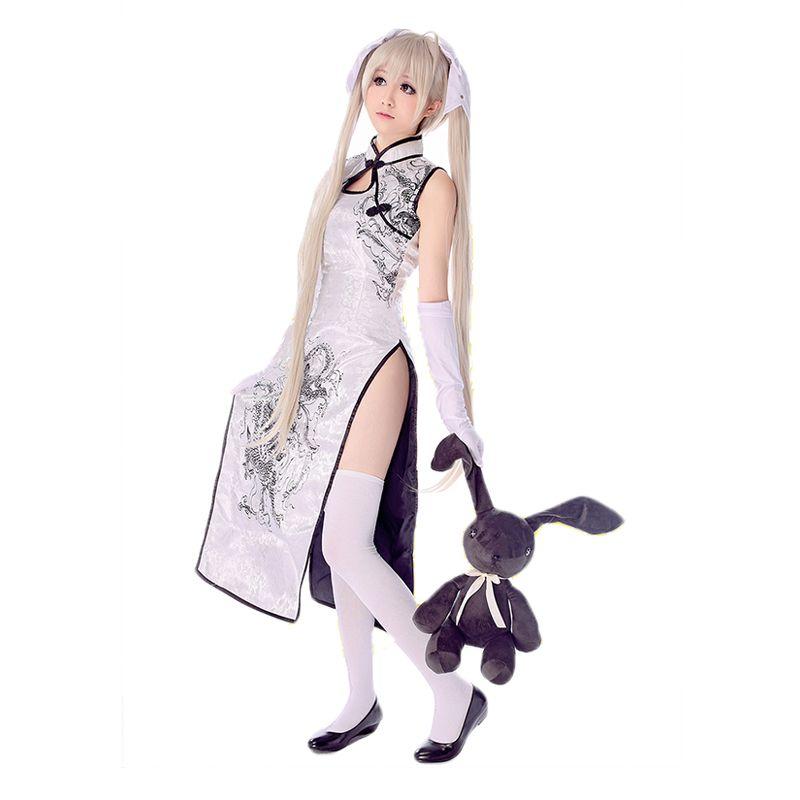 HSIU Sora Kasugano cosplay cheongsam Yosuga no Sora Cosplay vêtements costume blanc ou noir + gants + chaussettes + talons hauts + perruque