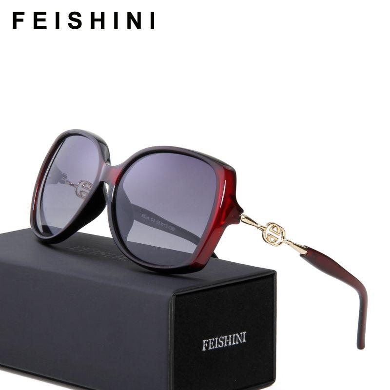 FEISHINI haute qualité FDA mode conduite oculos de sol feminino HD UVA grand cadre dégradé lunettes de soleil femmes polarisées Vintage
