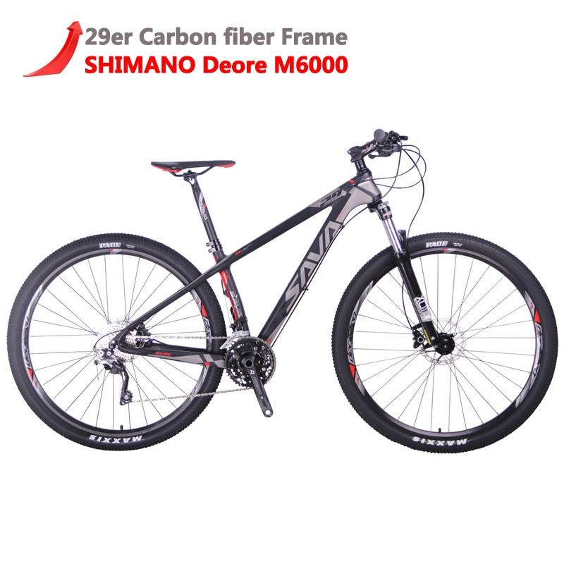 SAVA Men mountain bike 29 mtb Carbon Mountain Bike 29 DECK300 Mountainbike Bicycle Bikes mountain with SHIMANO DEORE 30 Speeds