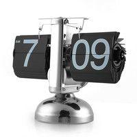 Reloj giratorio de escala Retro con soporte Digital para escritorio con tapa automática Reloj de Mesa Reloj Despertador de Mesa giratorio con engranaje interno y Reloj de cuarzo