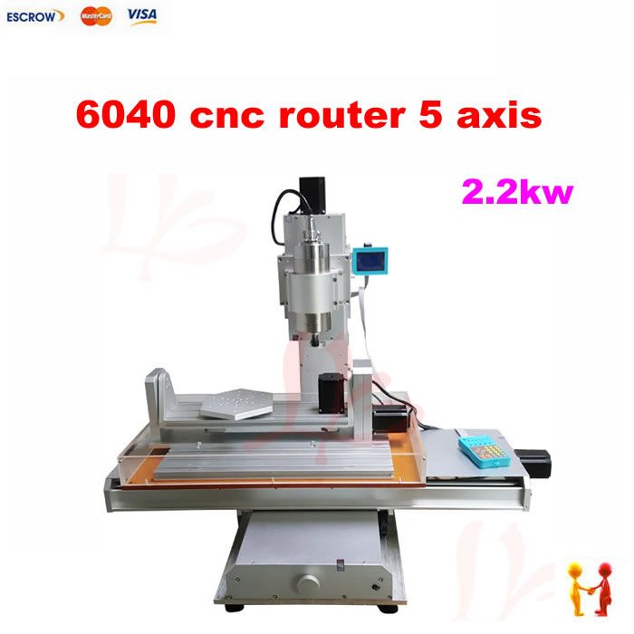 Three dimensional 5 axis cnc router 6040 mini woodworking milling machine for metal wood cutting with 2.2KW