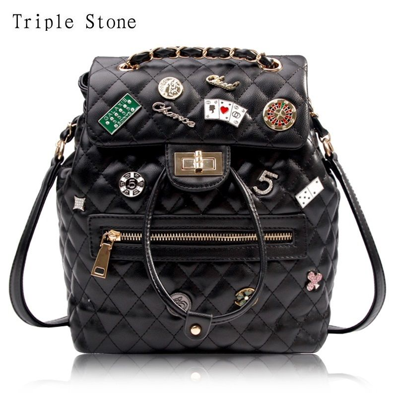 Luxury Brand Design Leather Women Backpack Badge Diamond Lattice Black Fashion Female Chain Backpack Lady Shoulder Bag Thread