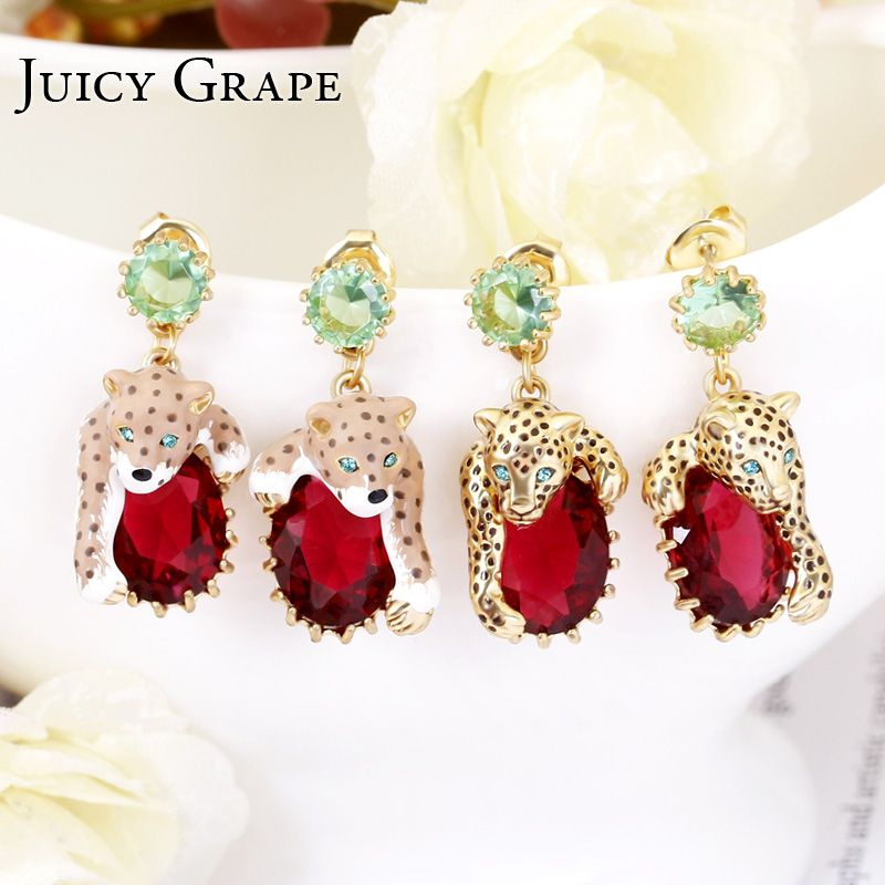 Juicy Grape Leopard Red Cristal Sexy Elegant Stud Earrings Women 2019 Enamel Gilded Fashion Trendy Animal Jewellery