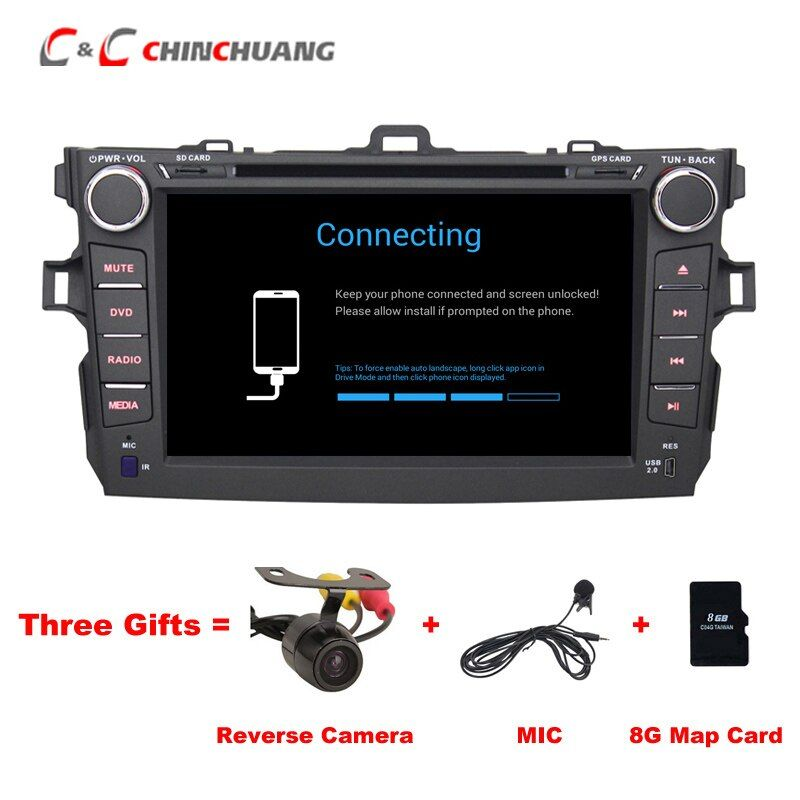 Free Mic and 8G Card ! Car DVD Player for Toyota Corolla 2007-2011 with GPS Stereo Radio DVR BT, Support 3G Wifi OBD Android 6.0