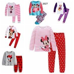 Anak Gadis Kartun anak-anak piyama piyama piyama katun pakaian set baru Musim Gugur pakaian Musim Dingin dalam ruangan