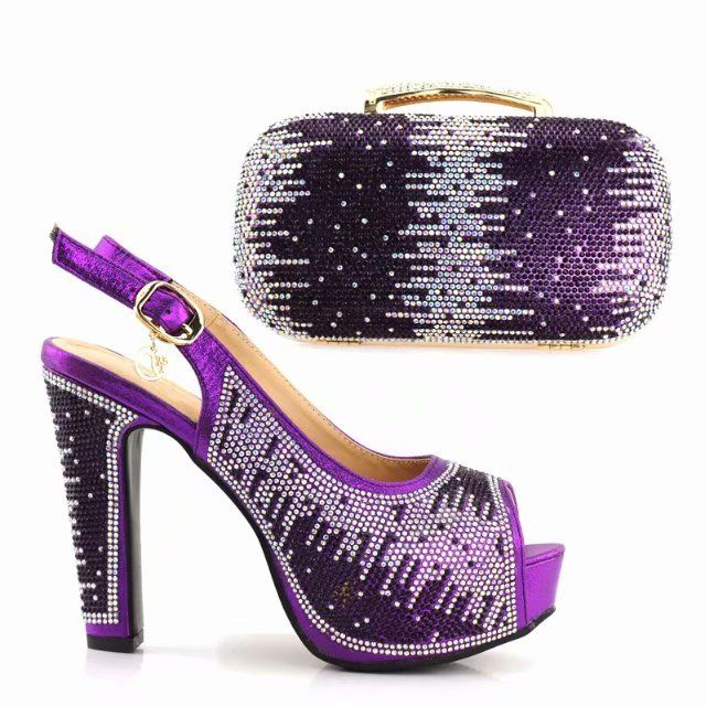 Purple Shoes and Bag Set Decorated with Crystal Shoes and Bag Set African Sets Newest In Women Matching Shoes and Bag Set