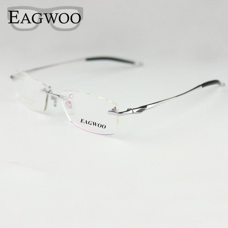Pure Titanium Eyeglasses Rimless Optical Frame Prescription Spectacle Frameless Glasses For Men Eye glasses Silicon Foot 16123
