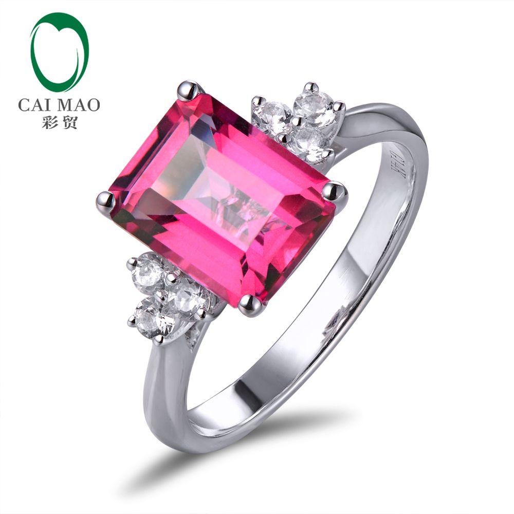 14 karat Weiß Gold 2.78ct Smaragd Cut Rosa Topaz Engagement Mit 0.28ct white sapphire Ring Freies verschiffen