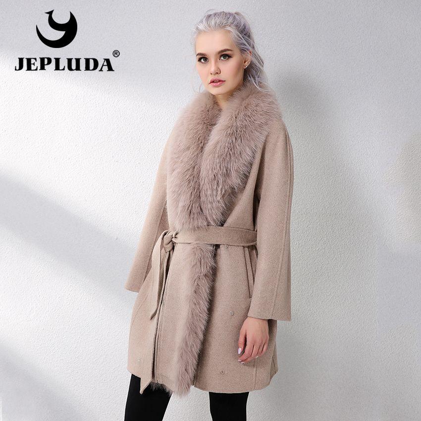 JELUDA Heißer Verkauf Kaschmir Mantel Frauen Schal Kragen Mit Natürliche Echt Fox Fur Real Pelz Mantel Aus Echtem Leder Jacke Frauen mantel