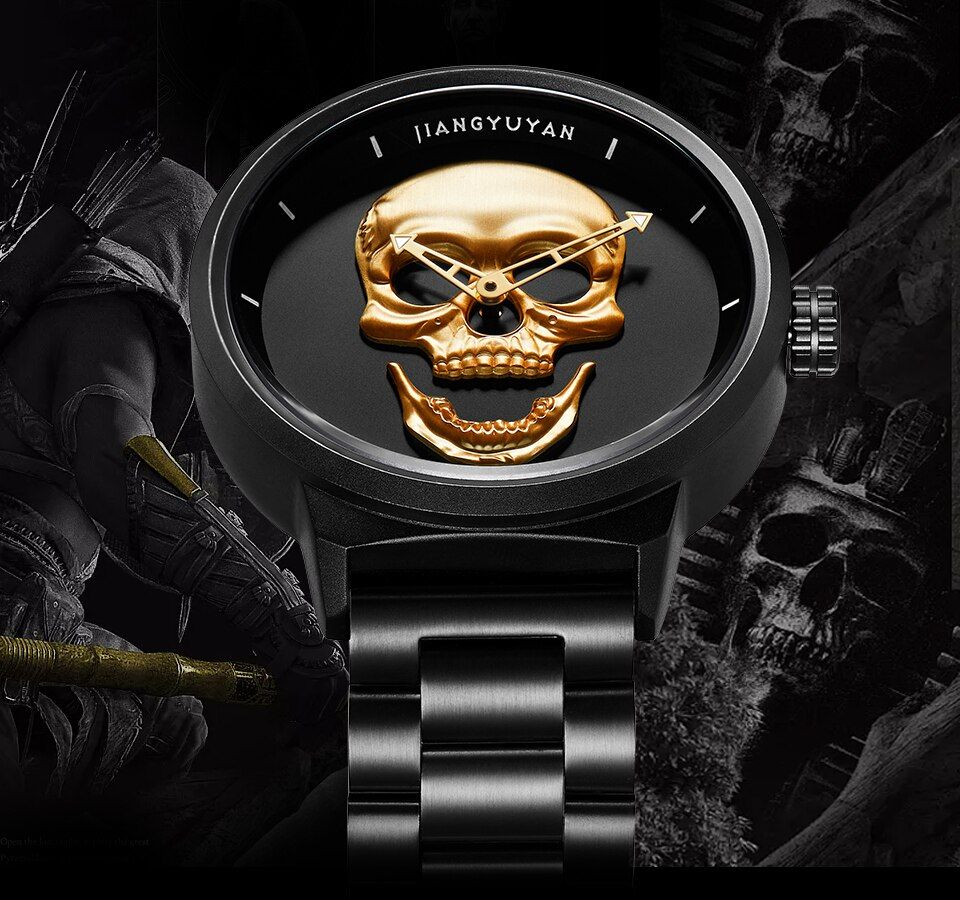 Hot Dropship Punk 3D Skull Men Watch Brand Luxury Steel Quartz Male Watches Retro Fashion Gold Black Clock Relogio Masculino