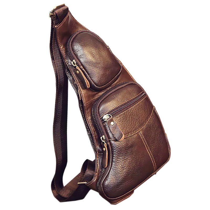 High Quality Men Genuine Leather Cowhide Vintage Sling Chest Back Day Pack Travel fashion <font><b>Cross</b></font> Body Messenger Shoulder Bag