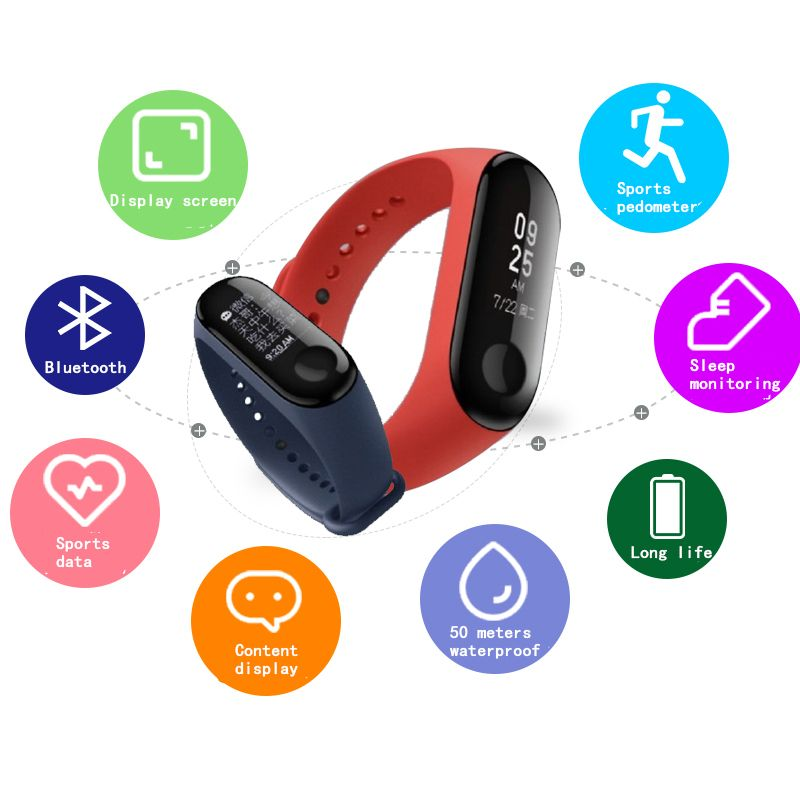 Xiaomi Mi Band 3 Band 3 Smart Wristband IN STOCK 2018 New Original Xiaomi Mi Band 3 Smart Bracelet, 0.78 inch OLED Message
