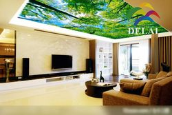 T-11852 Overlook trees with green leaves printing ceiling film pvc material with ceiling lamp