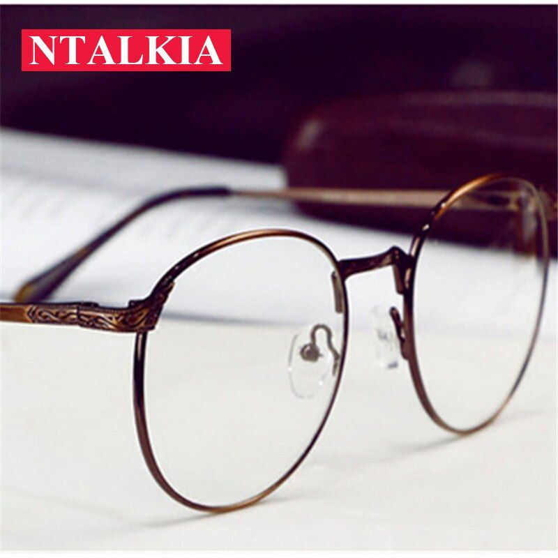 Retro Round Metal Blue Light Eyeglasses frame for women men Anti-radiation anti-fatigue computer reading Anti blue ray glasses