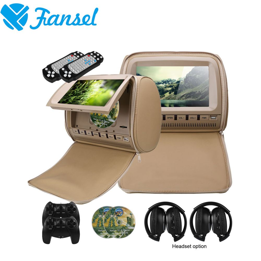 Fansel 2PCS 9 Inch Car Headrest Monitor DVD Player TFT LCD Screen With Zipper Cover Support IR/FM Transmitte/USB/SD/Speaker/Game