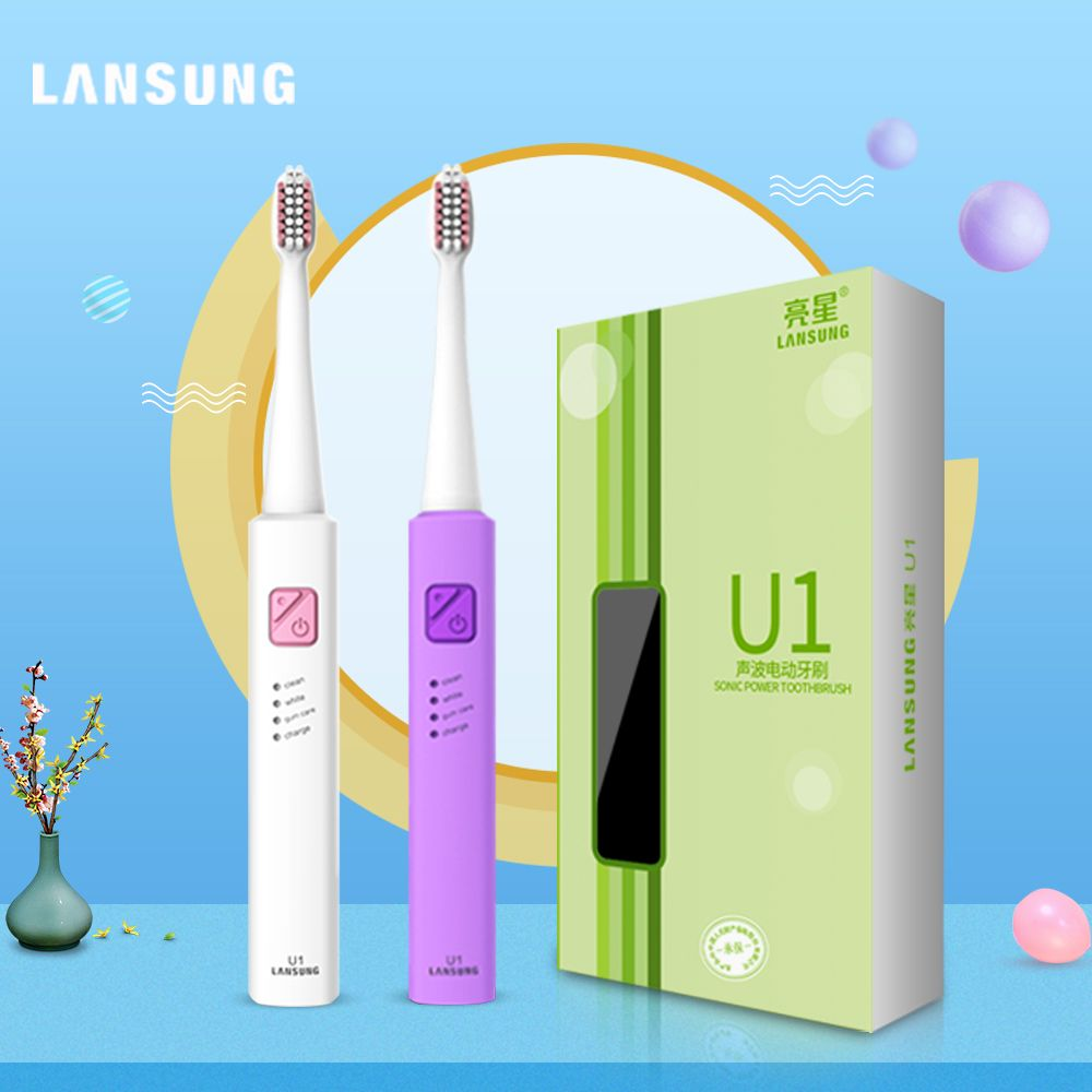 Lansung Washable 4 Brush Heads Rechargeable Sonic Electric Toothbrush Ultrasonic Whitening Teeth Vibrator Wireless Oral Hygiene