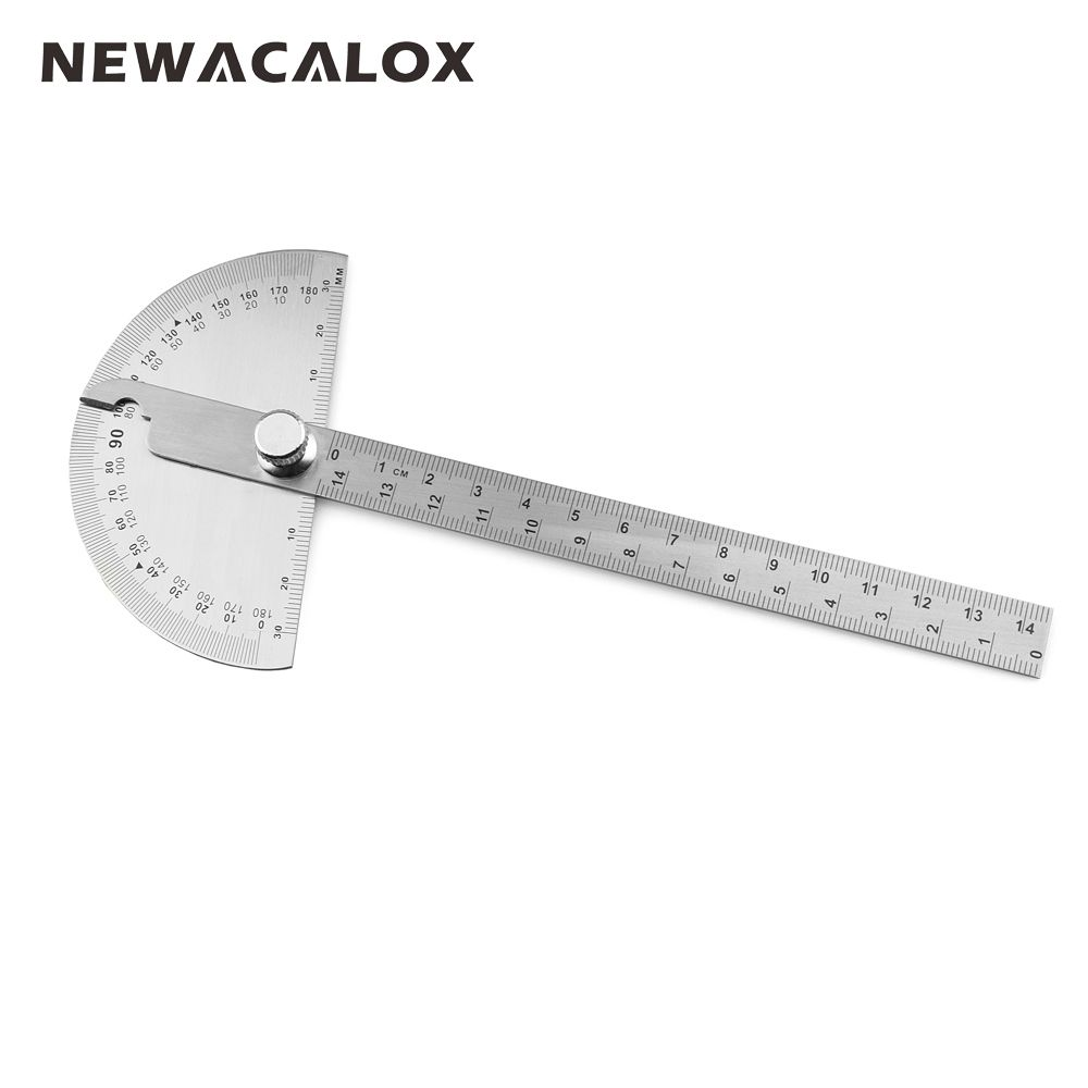 NEWACALOX Woodworking 180 Degree Adjustable Protractor Angle Finder Craftsman Ruler Stainless Steel Caliper 14cm Measuring Tools