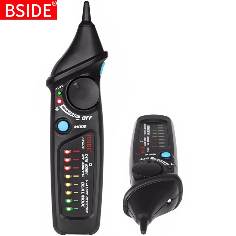 Non-Contact Voltage Detector Tester BSIDE AVD06 Socket Wall AC Power Outlet Live Test Pen Indicator 12~1000V match Multimeter