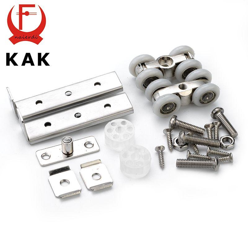 KAK acier inoxydable porte coulissante rouleau ours 30 KG maison chambre armoire porte en bois suspendus roues pour meubles matériel roue