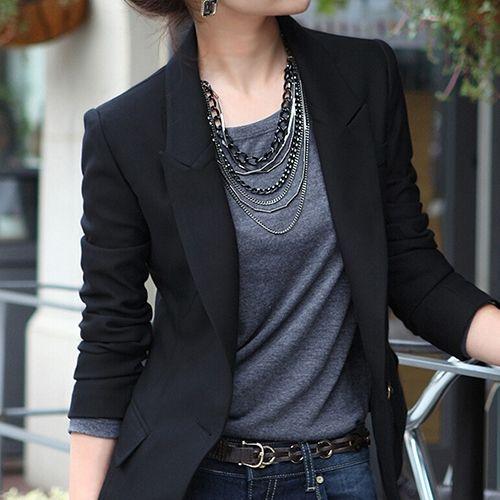 Moda de las mujeres un botón Slim casual Business blazer traje chaqueta Outwear