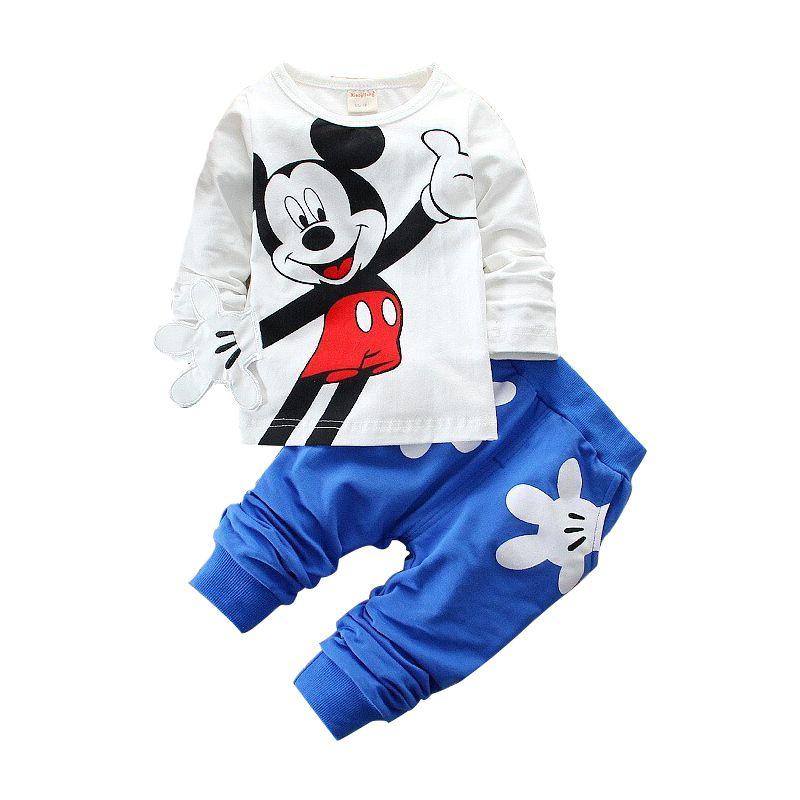 Niños Que Arropan Algodón de Los Niños Del Juego Del Deporte Niños de Mickey Minnie de la Historieta de La Camiseta Y Los Pantalones Fijan Bebé Embroma La Ropa de Moda
