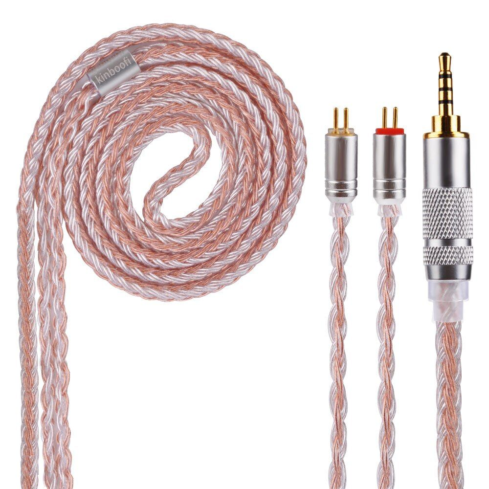 AK Kinboofi 16 Core Silber Überzogene Kabel 2,5/3,5/4,4mm Ausgeglichen Kabel Mit MMCX/2pin Stecker KZ ZST ZS10TRN V80/V30 CCA C10/C16