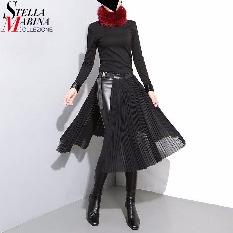 2018 Korean Style Women Black Pleated Chiffon Skirt Leather Belt Adjustable Waist Girls Unique Midi Sexy Party Wear Skirts 876