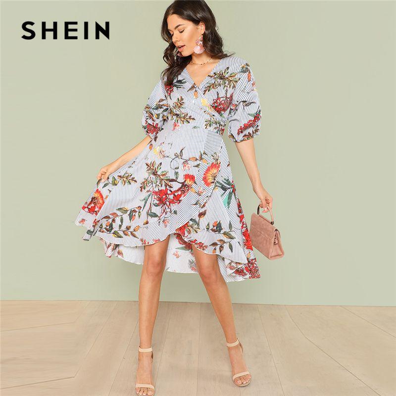SHEIN Mixed Print Asymmetrical Ruffle Hem Surplice Wrap Dress 2018 Summer V Neck <font><b>Short</b></font> Bishop Sleeve Dress Women Vacation Dress