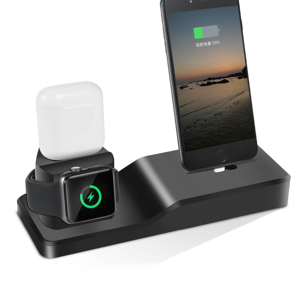 3in1 Stand For Apple Watch Stand For iPhone X 6 6S 7 8 Plus SE Airpods Charger Dock Station Cradles Mounts Base Holder Bracket