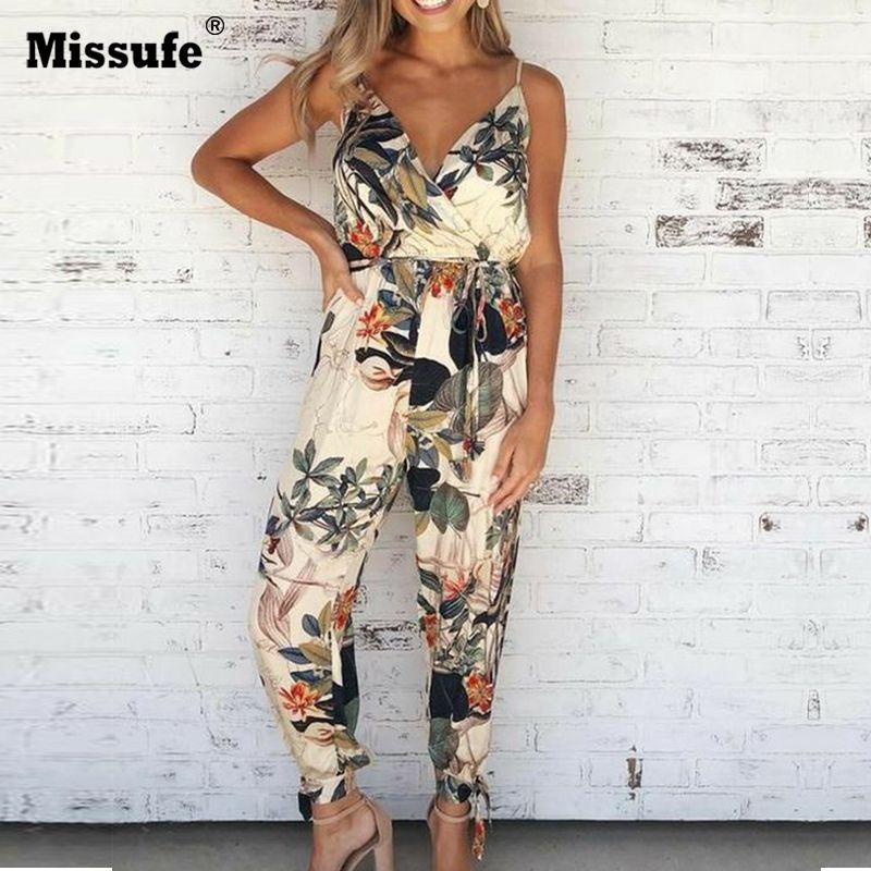 Missufe V cou Sexy Body femmes avec ceinture Body Femme Macacao Feminino Floral combishort salopette imprimé printemps été combinaison