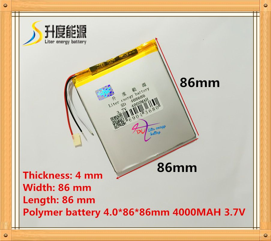 3 wire The tablet battery 3.7V 4000mAH 408686 Polymer lithium ion / Li-ion battery for tablet pc battery