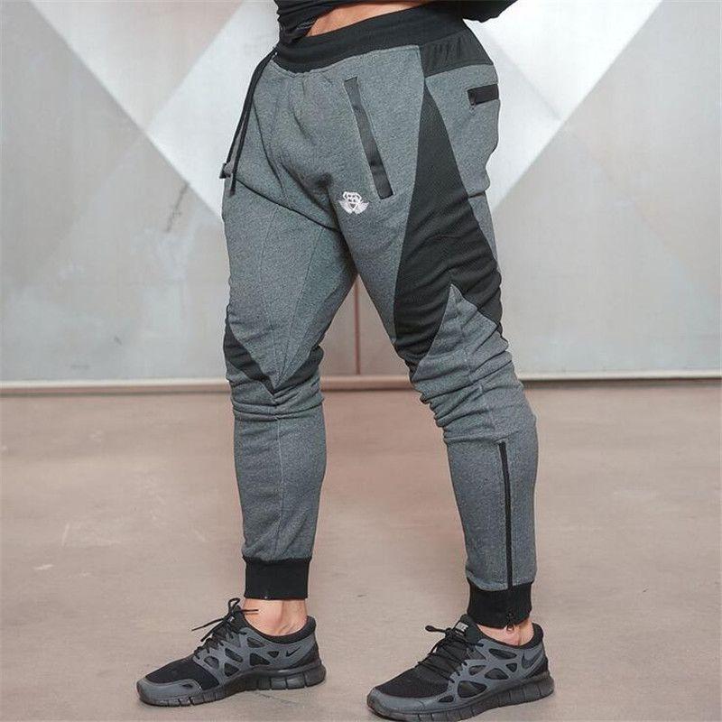 2017 Marca Nueva Medalla de Oro Ocasional de la Aptitud Elástico Estiran Los Pantalones de Algodón Pantalones de La alta calidad de Los Hombres Basculador Pantalones Culturismo
