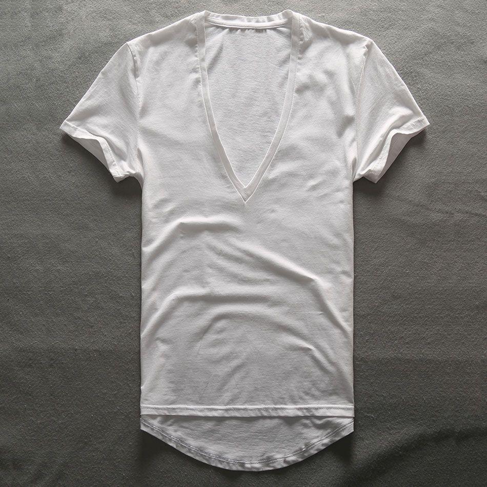 Zecmos profonde col en V T-Shirt hommes plaine col en V t-shirts pour hommes 2017 mode haut de compression t-shirts hommes fête des pères cadeaux